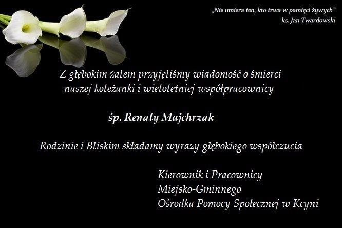 Karta kondolencyjna honorująca pamięć o zmarłej Renacie Majchrzak