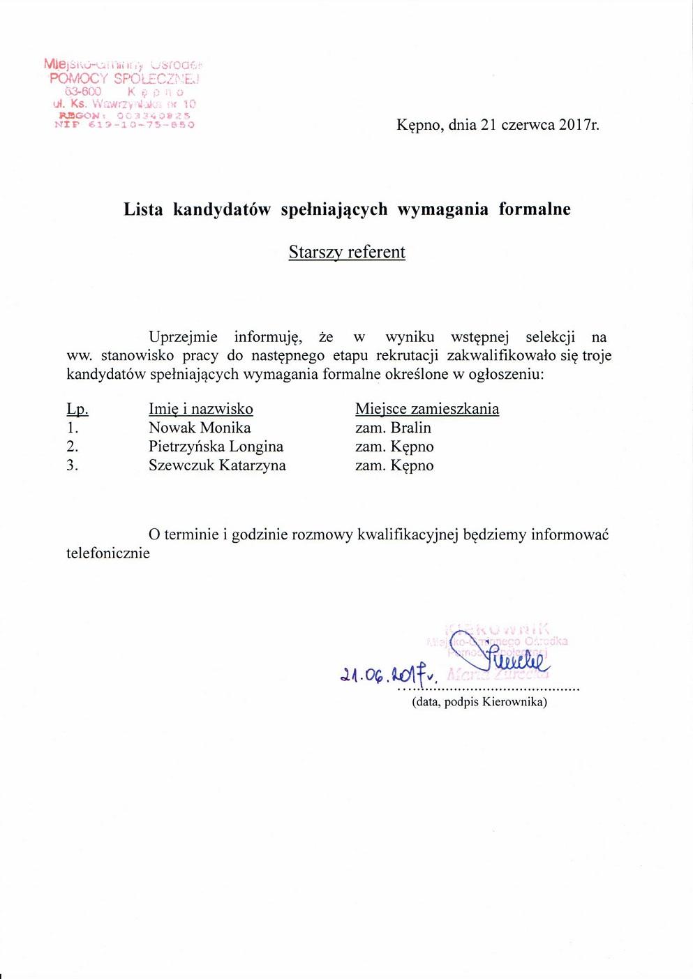 Lista kandydatów - Starszy referent